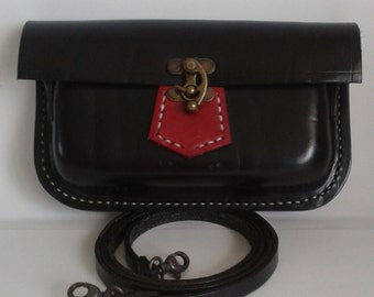 Hand Stitched Leather Shoulder bag in Black and Red
