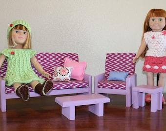 18 inch Doll Furniture – Lavender Living room set