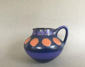 KMK blue, lilac, orange and yellow, Kupfer Mühle Keramik vintage Mid Century Modern handled vase  from the  1970s West Germany. WGP.