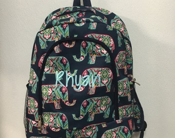 Monogrammed Navy Elephant Print School Size Backpack Bookbag- Personalized with Embroidered Name - Navy Blue, Teal, Pink