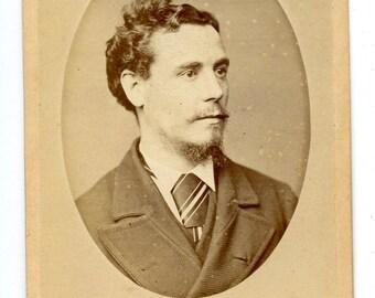 1870s Portrait of a Handsome Man with Silk Tie CDV Photo Carte de Visite Antique Vintage Victorian Edwardian Bury St Edmunds