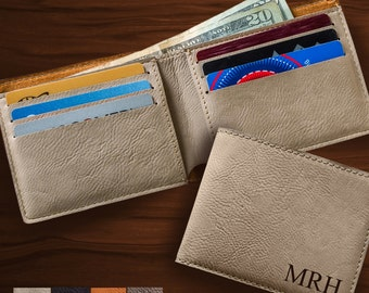 Leatherette Wallet - Mens Wallet - Groomsman Gifts - Fathers Day - Man Gift
