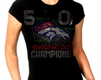 Women's t shirts football 50 Denver Broncos bling rhinestones