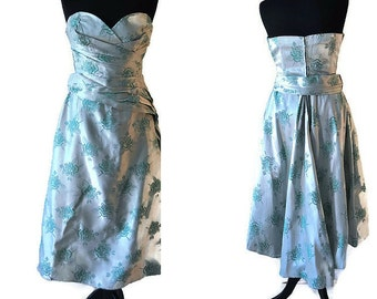 Green 1950's Dress // Strapless Wiggle Dress // Floral Evening Dress with Mermaid Hem // Size S/M