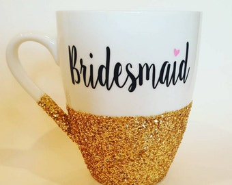 Bridesmaid with pink heart - hand glittered coffee mug personalized on the backside with bridesmaid's name - made to order