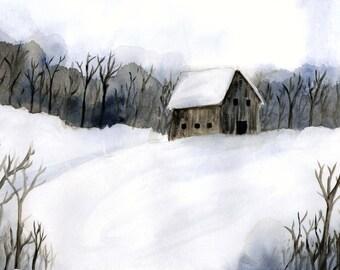 Winter Cabin, matted original watercolor print