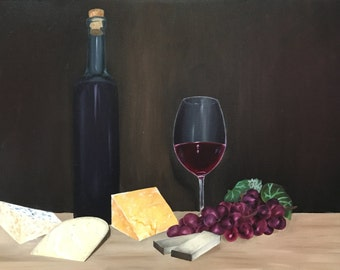 Wine and Cheese Oil Still life