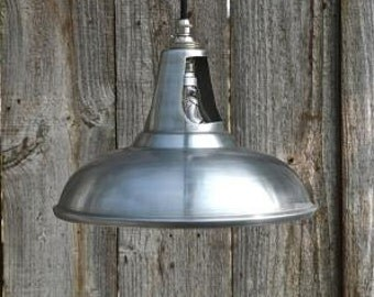 Vintage white zinc ceiling light vented hanging lamp shade retro factory light WZSR4