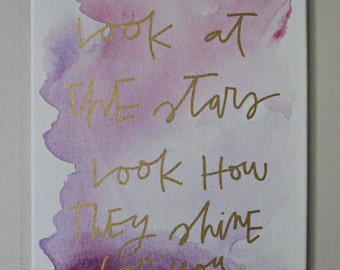 CUSTOM, MADE to ORDER Hand-lettered Watercolor Lyric/Quote/Phrase Canvas