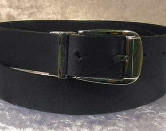 Navy Blue leather belt with 30mm buckle and belt loop Made to Order