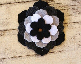 Felt Flower Barrettes Black/White/Neutral/Fall-Recycled Felt 5-Layered-pick one