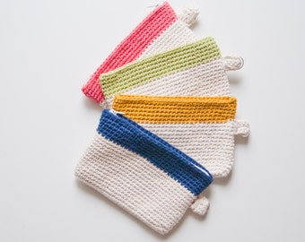 Crochet zipper pouch two color in cotton | minimalist mini clutch with internal fabric and loop for key
