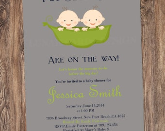 Twins Baby Shower Invitation, Twins Invitation, Twin peas in a pod Invitation, Twins Shower Invitation, Baby Shower for Twins - DIGITAL FILE