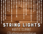 String Lights Clipart - Fairy Lights Clipart - Party Lights Clipart - Rustic Clipart - String Art - PNG AI EPS Files - Instant Download
