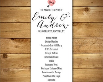 PRINTABLE Double-Sided Wedding Program - Customized Just For You