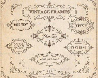 Rustic Frames Clipart Set - Calligraphy Clipart - Rustic Boho Clipart - Rustic Clipart - Vector AI and PNG - Instant Download