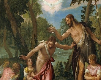 Veronese: The Baptism of Christ. Fine Art Print/Poster. (002026)