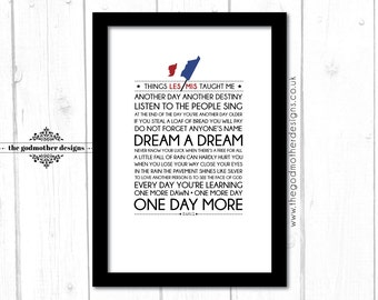 Les Miserables - Broadway Musical  - Quotes & Lyrics Typography - PRINT