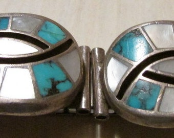 Sterling Silver Turquoise and Mother of Pearl Watch Band