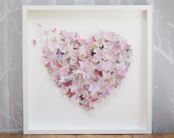Personalised art. Butterfly art. Heart wall art. Vintage pink decor. Birthday gift.