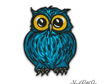 Cute Blue Owl Embroidery Design , Instant download PES , Machine Embroidery Design , animal embroidery pattern