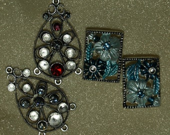 Swarovski Crystal Pewter Jewelry Components For Parts or Repair Destash Assemblage