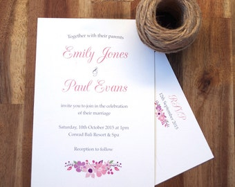 Wedding invite - Vintage floral printable Wedding Invitations