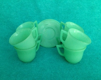 Hazel Atlas Glass Demitasse Cup and Saucer Set of 8 Fired-On Green