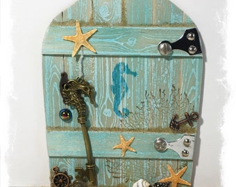 NEW Handcrafted Water Fairy Door / Mermaid Fairy Door / Water Pixie Door / Sea Nymph (Light Turquoise Pointed Arch)