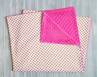 Baby Blanket - Gold Metallic Polka Dots on White with Hot Pink Minky Blanket - Baby Girl Minky Receiving Blanket