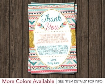 Tribal Baby Shower Thank You Card