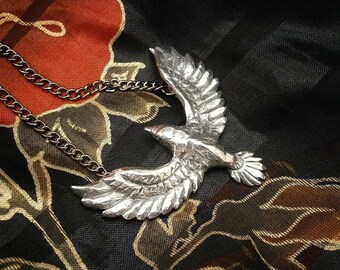 Raven Pendant, Pewter, Necklace, Crow