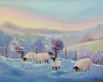 Landscape painting, Animal painting, Lambs and Sheep