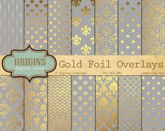 Gold Foil Overlays for Digital Paper, Scrapbooking, Invitations, Golden Embellishments, 7x7 inches Gold leaf overlay