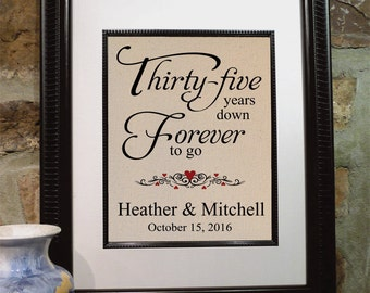 35th Wedding Anniversary Gift Husband : 35th Wedding Anniversary, 35 Years Down -Forever to Go, Personalized ...