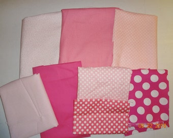 Shades of Pink - Assorted Lot of Pink Cotton Fabric Pieces
