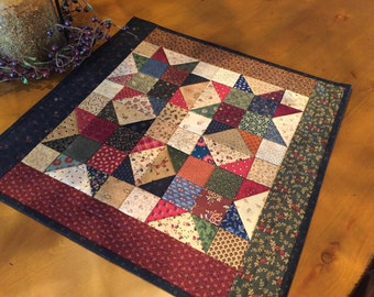 Quilted Table Topper /Primitive Scrappy Stars / # 1356