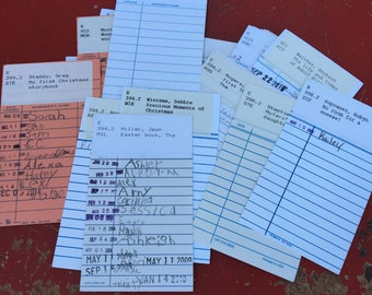 Signed Lot of 20 Vintage Signed Library Cards; Dewey Decimal System Library Cards; signed Library Sign Out Cards
