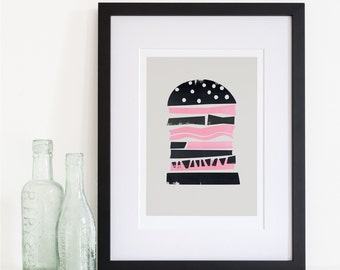 Burger Print, Mid Century Style, Unique Home Decor Ideas, Mid Century Modern Era, Bold Graphic Art, Foodie Print, Kitchen Living Room Wall