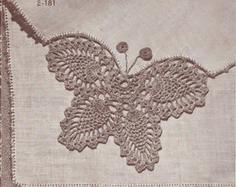 Butterfly crochet handkerchief pattern edging border