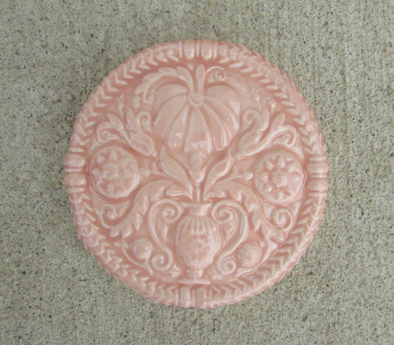 Ceramic Art Tile -- Butter Mold Decorative tile in Crystal Coral  glaze, pale pink, floral, home decor