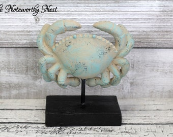 Beachy Crab // Beach Decor // Nautical Decor // Pool House // Beach Theme // Beige and Blue Crab // Coastal Decor / Bathroom Decor // Crab