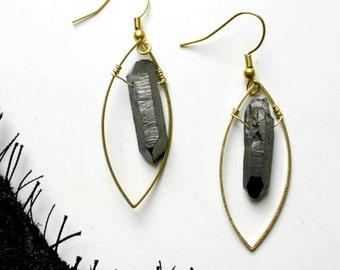 SALES - Phoenix - Black quartz earrings