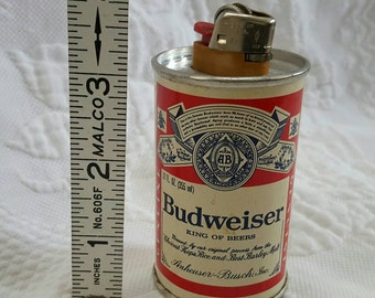 Vintage BUDWEISER  mini can Bic lighter holder