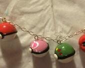 Great Ball, Original Pokeball, Love Ball, Friend Ball, Cherish Ball, and Level Ball Pokemon Pokeball Charm Bracelet
