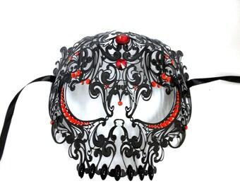 Skull Mens Masquerade Mardi Gras Metal Filigree Mask