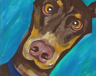 Doberman print from original doberman canvas painting. doberman decor, doberman pinscher art