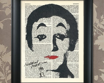 Marcel Marceau, Bip the Clown, Marcel Marceau print, Marceau Poster, Marcel Marceau art, Marceau wall art, French Mime, French Actor, France