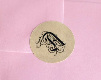 "Monogram 1"" inch round stickers brown kraft paper black ink"