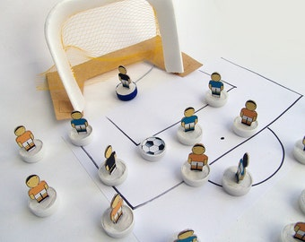 Subbuteo DIY football teams, template to build football teams, drawing and colouring soccer, digital file instant download